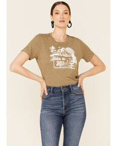 Blended Women's Heather Olive Take A Hike Graphic Short Sleeve Tee , Olive, hi-res