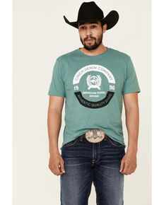 Cinch Men's Heather Green Circle Logo Graphic Short Sleeve T-Shirt , Green, hi-res