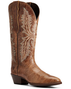 Ariat Women's Heritage Elastic Calf Western Boots - Round Toe, Brown, hi-res
