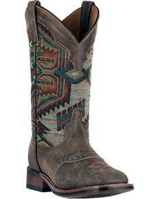 Laredo Women's Scout Leather Cowgirl Boots - Square Toe , Taupe, hi-res