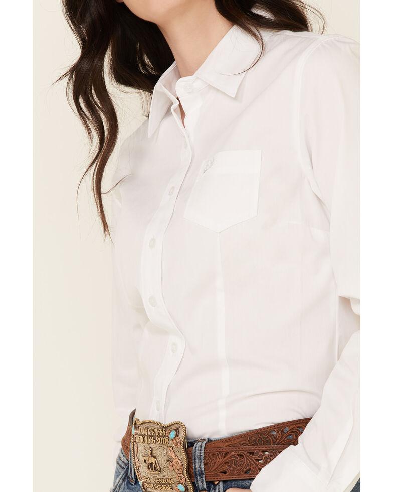 Cinch Women's Solid White Button Down Western Shirt, White, hi-res