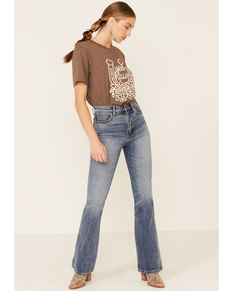 Ali Dee Women's Yee Haw Horseshoe Graphic Tee , Brown, hi-res