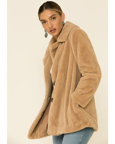 Z Supply Women's Carmel Faux Fur Collar Coat , Caramel, hi-res