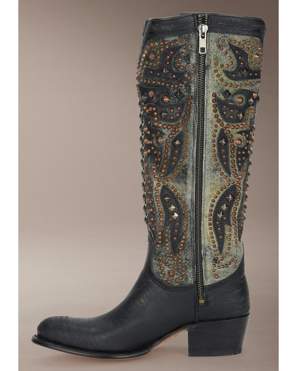 Frye Women's Deborah Deco Tall Cowgirl Boots - Medium Toe, Black, hi-res