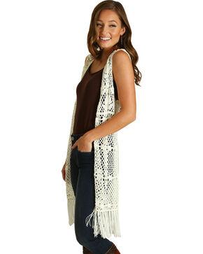 Wrangler Women's Ivory Fringe Crochet Vest , Ivory, hi-res