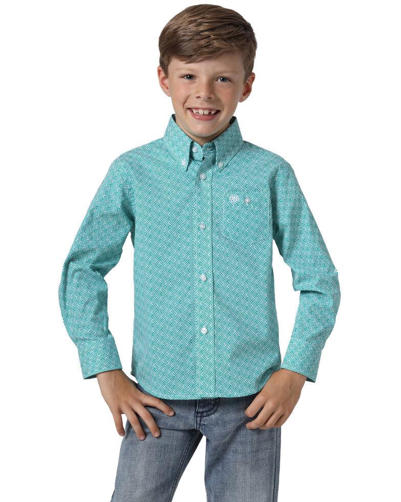 Wrangler Boys' Classic Turquoise Geo Print Long Sleeve Western Shirt , Turquoise, hi-res