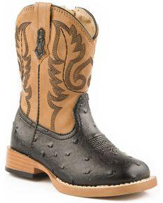Roper Toddler Girls' Faux Ostrich Cowboy Boots - Square Toe, Black, hi-res