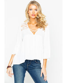 754e57c047caf Panhandle Women s Crinkle Lace Long Sleeve Top