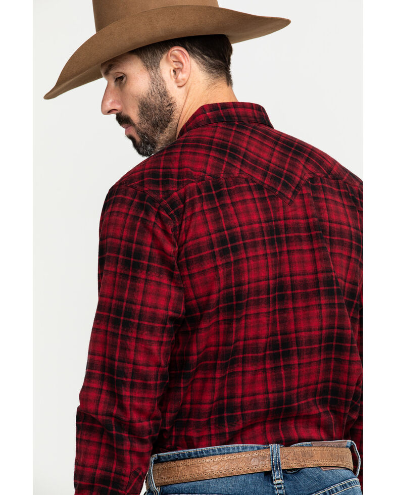 Ariat Men's Forrest Retro Snap Long Sleeve Western Flannel Shirt , Chilli, hi-res