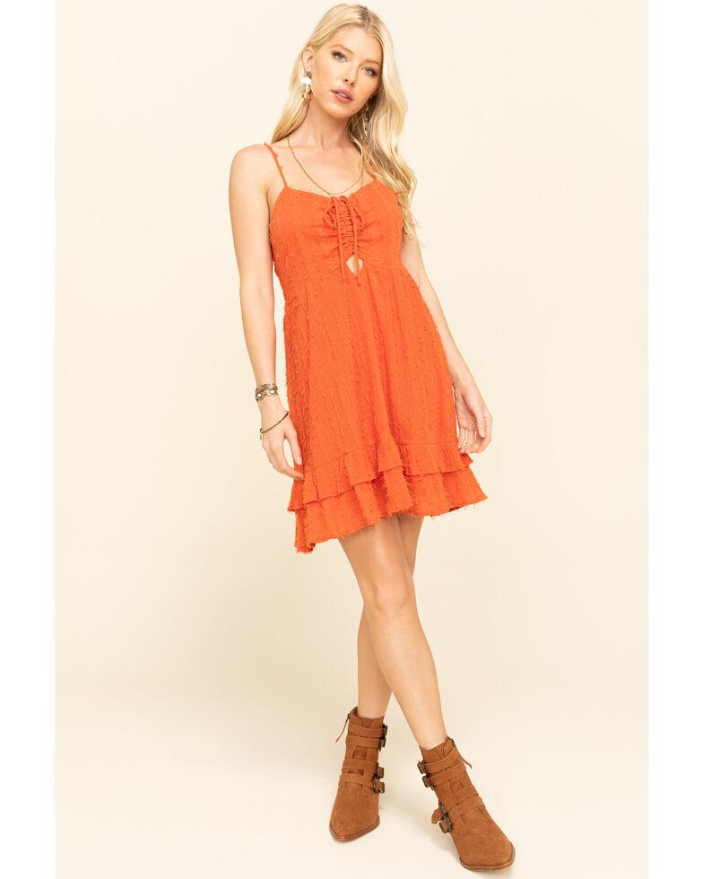 Loveriche Women's Orange Tie Front Ruffle Dress, Orange, hi-res