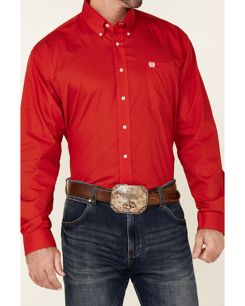 Cinch Men's Black Solid Button-Down Long Sleeve Western Shirt, Red, hi-res