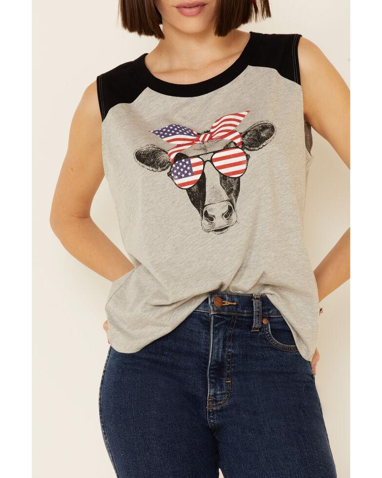 Cut & Paste Women's Patriotic Cow Graphic Raglan Tank Top , Grey, hi-res
