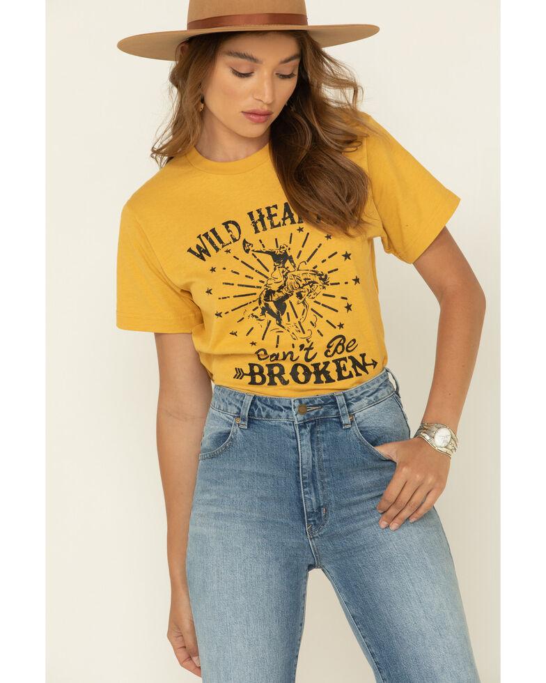 Ali Dee Women's Mustard Wild Hearts Can't Be Broken Graphic Tee, Dark Yellow, hi-res