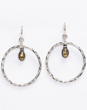 Shyanne Women's 2-Tone Hammered Dangle Gold Hoop, Silver, hi-res