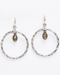 Shyanne Women's 2-Tone Hammered Dangle Gold Hoop, Silver, hi-res
