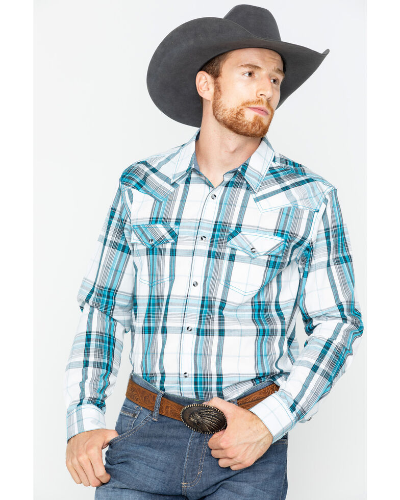 Cody James Men's Rory Plaid Long Sleeve Western Shirt , White, hi-res