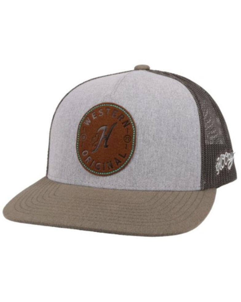 HOOey Men's Spur Leather Logo Patch Mesh Back Trucker Cap , , hi-res