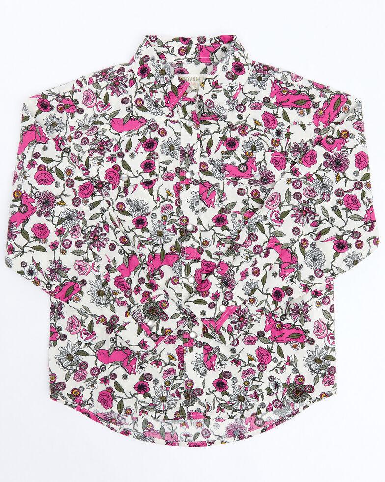 Shyanne Toddler Girls Ivory Floral Print Long Sleeve Western Shirt , Ivory, hi-res