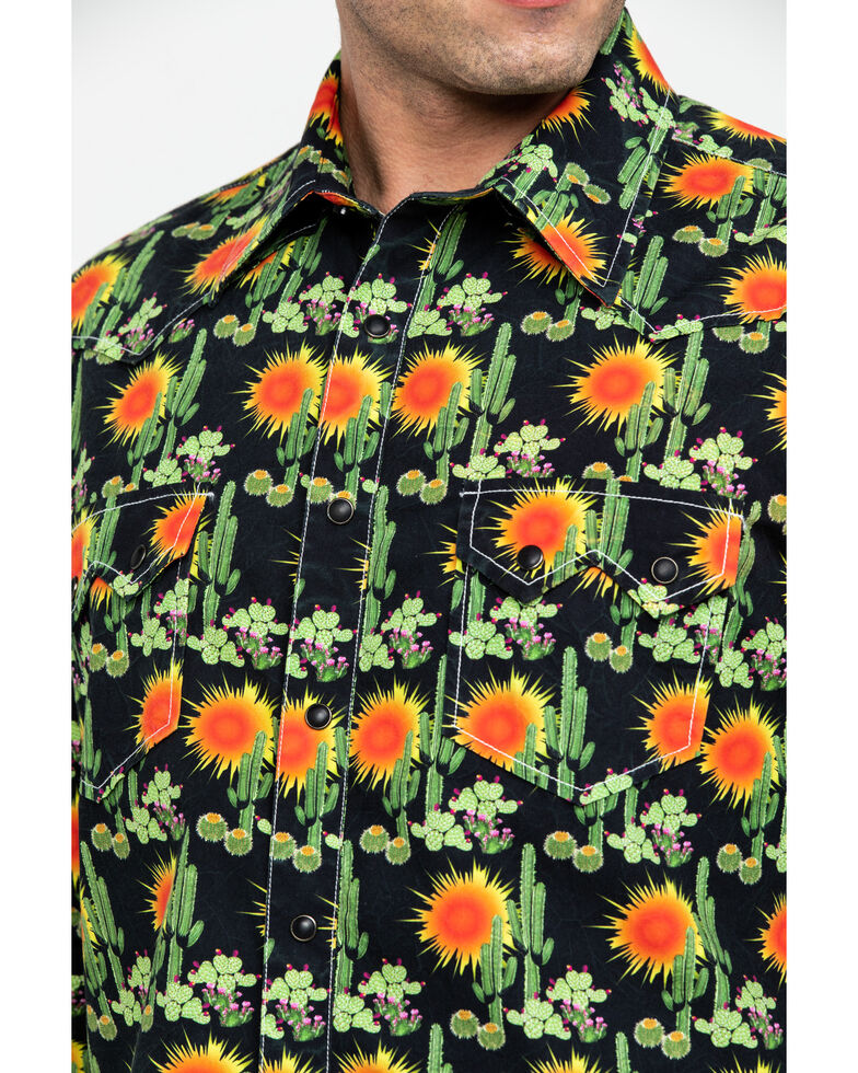 Dale Brisby Men's Washed Cactus Print Long Sleeve Western Shirt , Black, hi-res