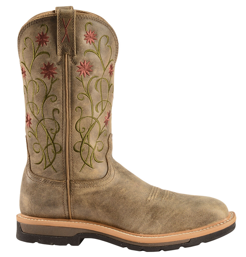 Twisted X Floral Stitched Roughstock Cowgirl Boots - Steel Toe, Bomber, hi-res