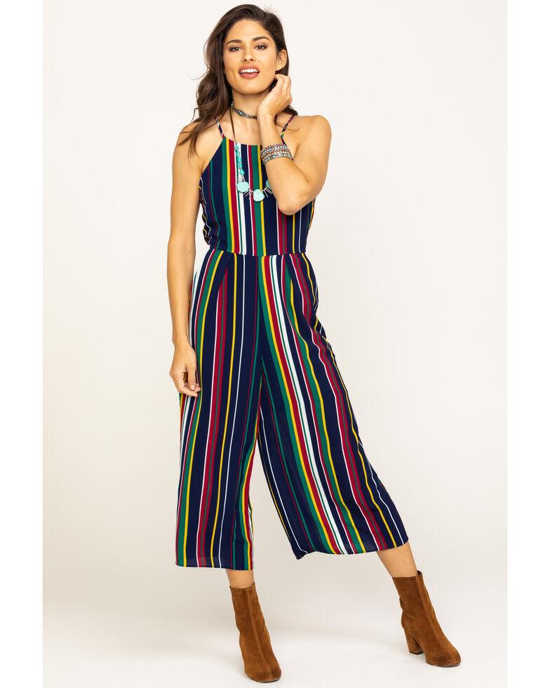 Wrangler Women's Halter Stripe Jumpsuit , Navy, hi-res