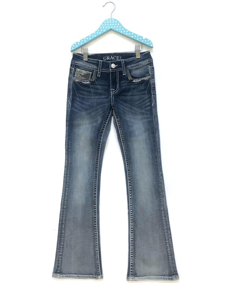 Grace In LA Girls' Light Wash Floral Longhorn Embellished Pocket Bootcut Jeans , Blue, hi-res