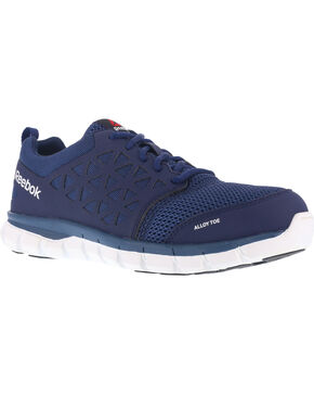 Reebok Men's Mesh Athletic Oxfords - Alloy Toe, Navy, hi-res