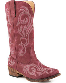 Roper Women's Raspberry Riley Vintage Western Boots - Snip Toe, Red, hi-res