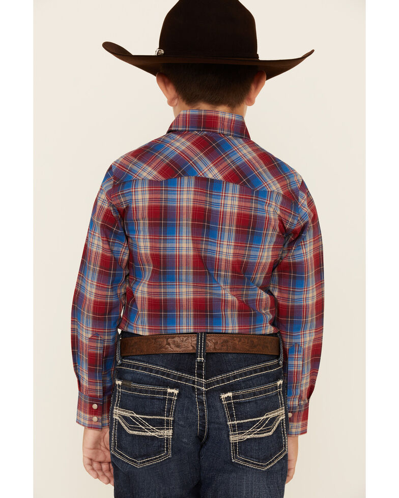 Wrangler Retro Boys' Red Plaid Long Sleeve Snap Western Shirt , Red, hi-res