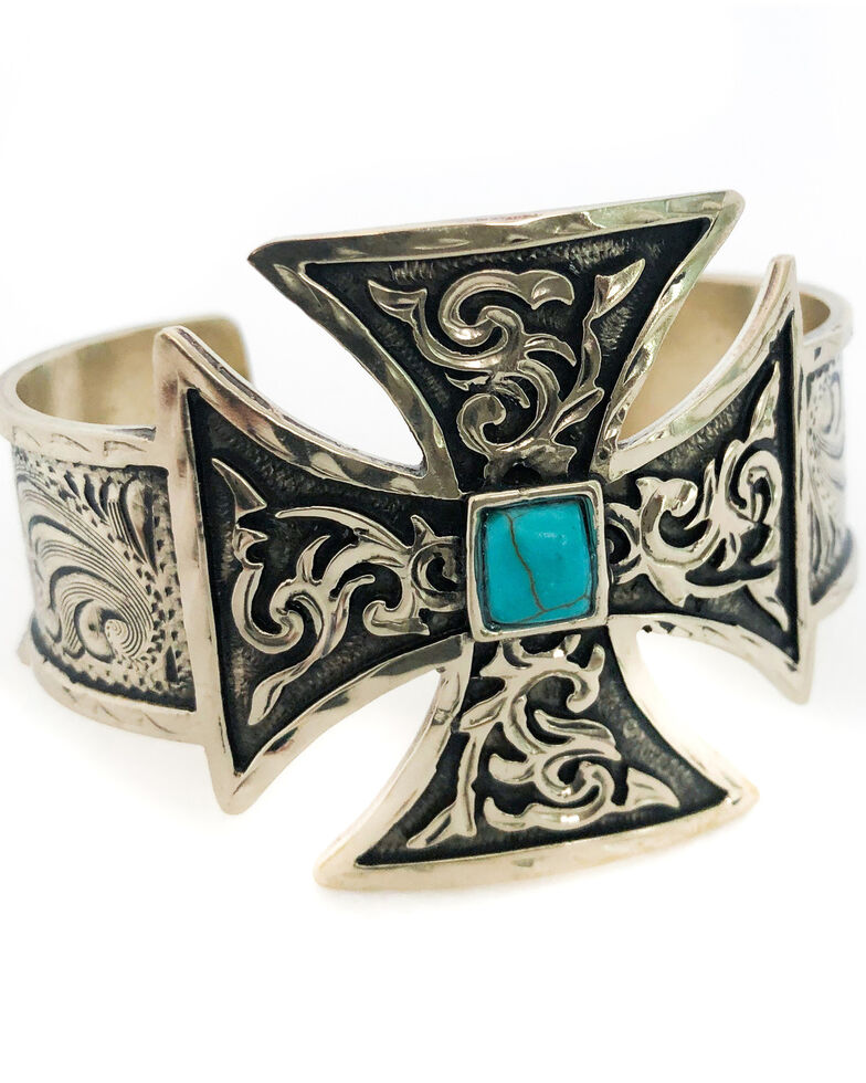 Tres Rios Women's Silver Engraved Turquoise Cuff, Silver, hi-res