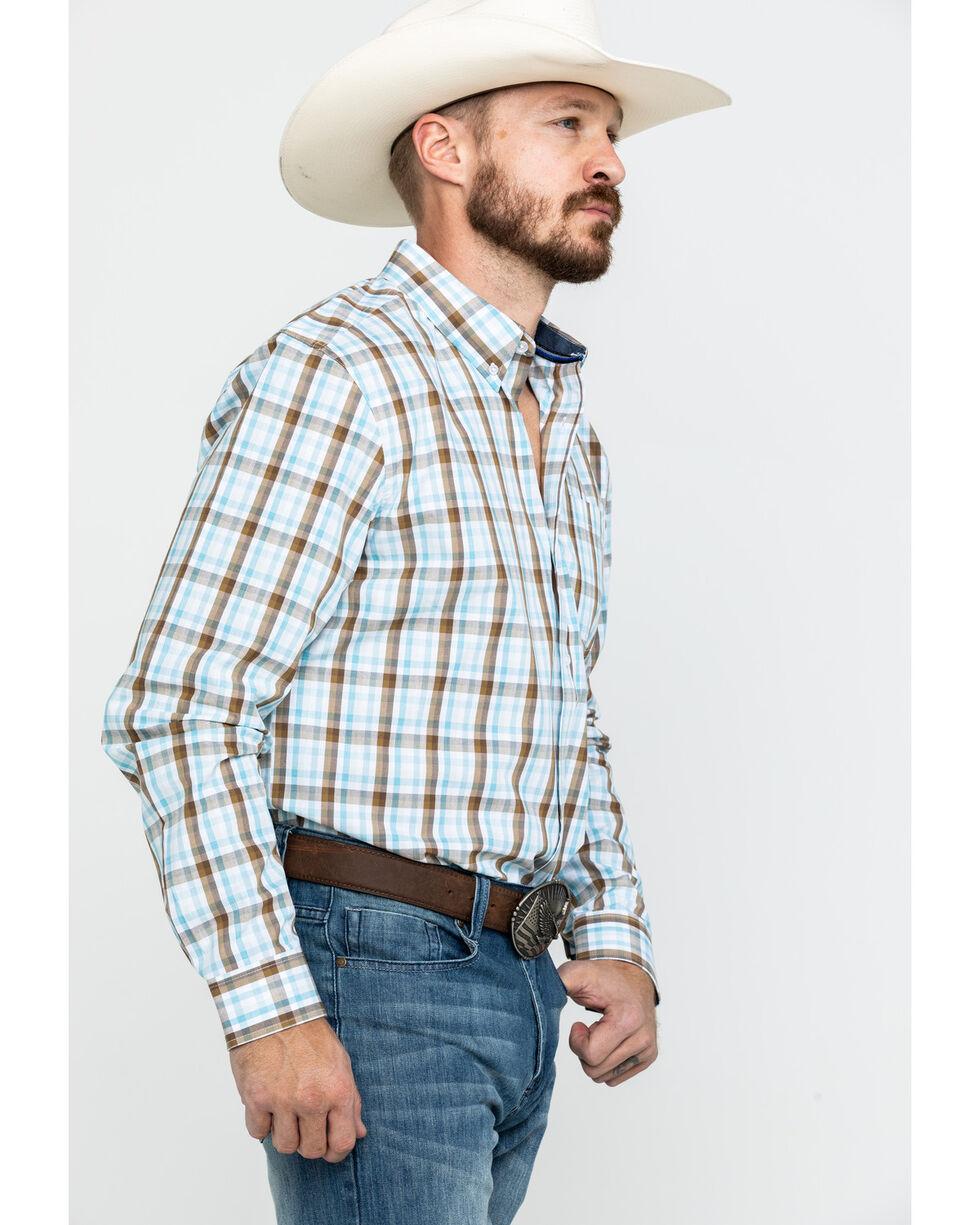 Cody Core Men's Mountain Rain Med Plaid Long Sleeve Western Shirt , Light Blue, hi-res