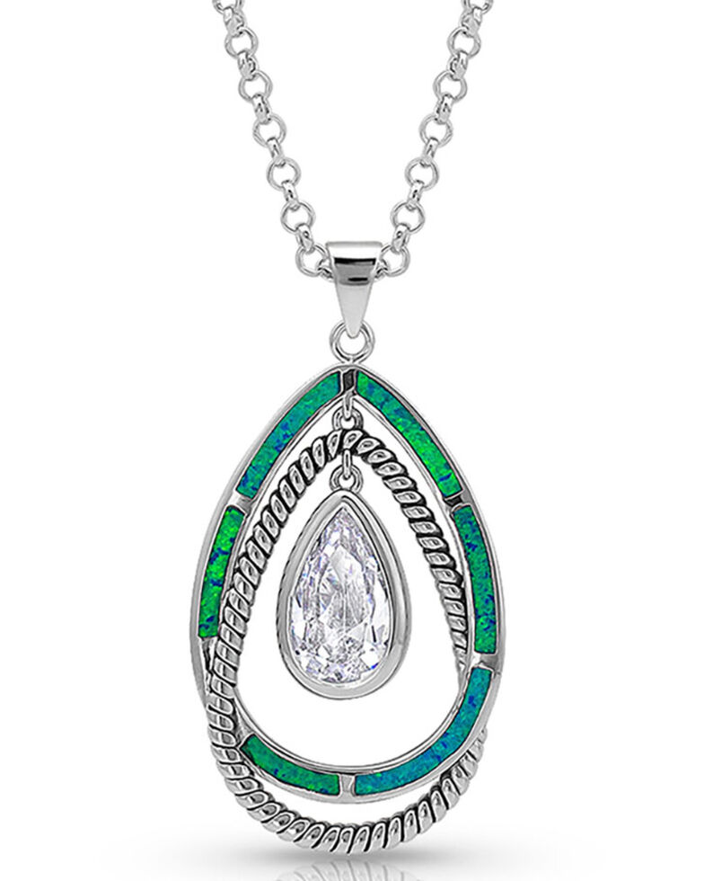 Montana Silversmiths Women's Opal Ribbons Teardrop Necklace, Silver, hi-res