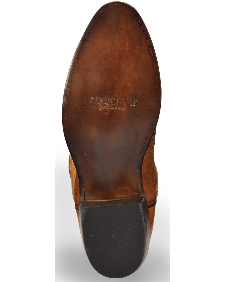 Lucchese Men's Handmade Light Brown Nathan Smooth Ostrich Boots - Medium Toe , Lt Brown, hi-res