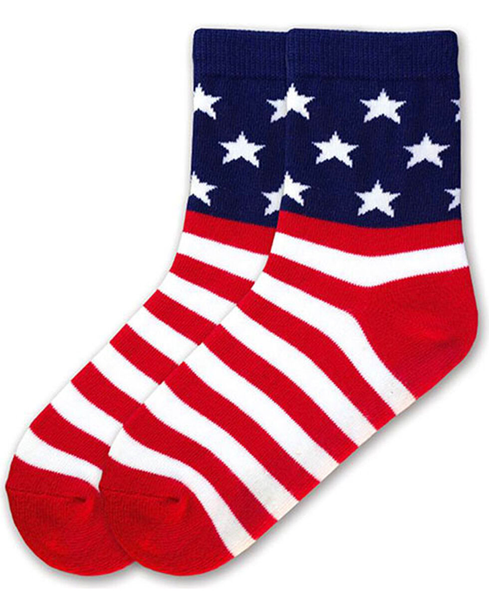K.Bell Youth Stars and Stripes Crew Socks , Multi, hi-res