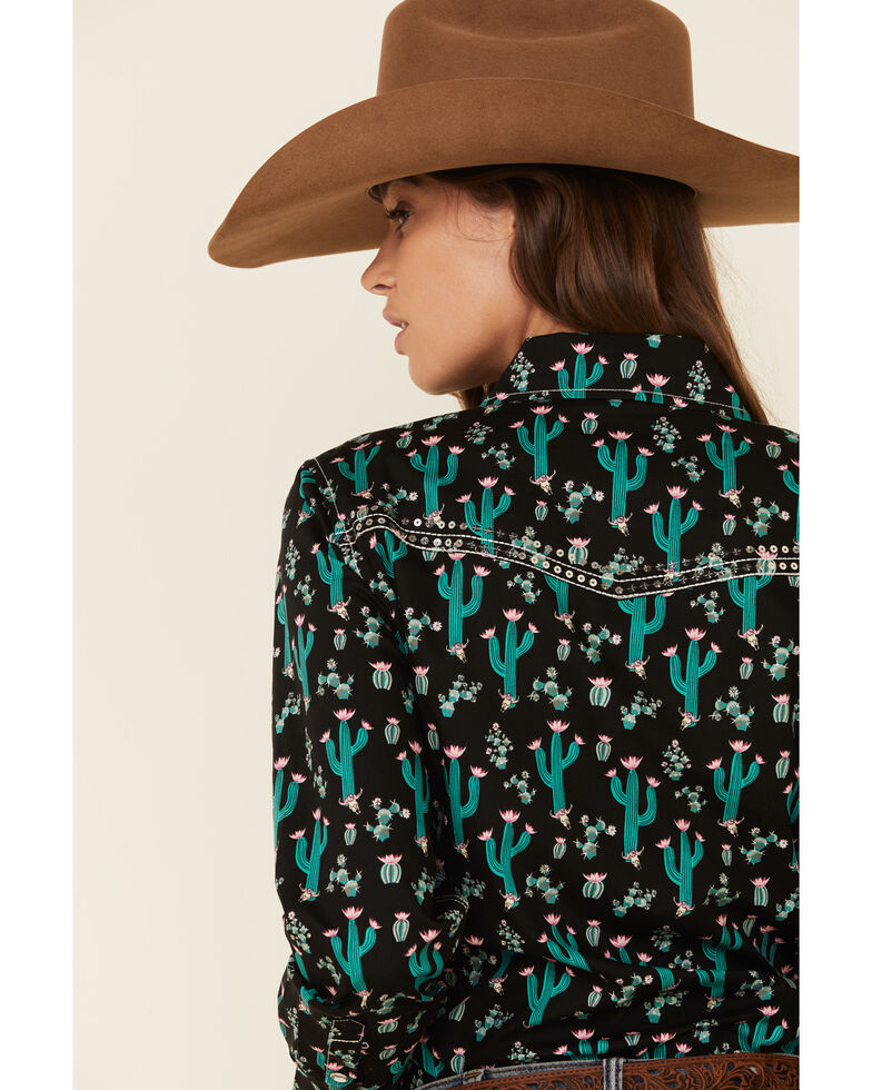 Cowgirl Hardware Women's Black Floral Cactus Print Long Sleeve Western Shirt , Black, hi-res