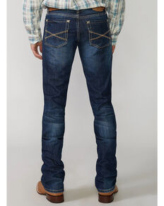 """Stetson Men's Rock Fit Barbwire """"X"""" Stitched Boot Jeans - Big & Tall, Med Wash, hi-res"""