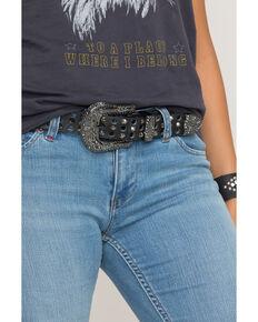 Shyanne Women's Open Circle Stud Belt, Black, hi-res