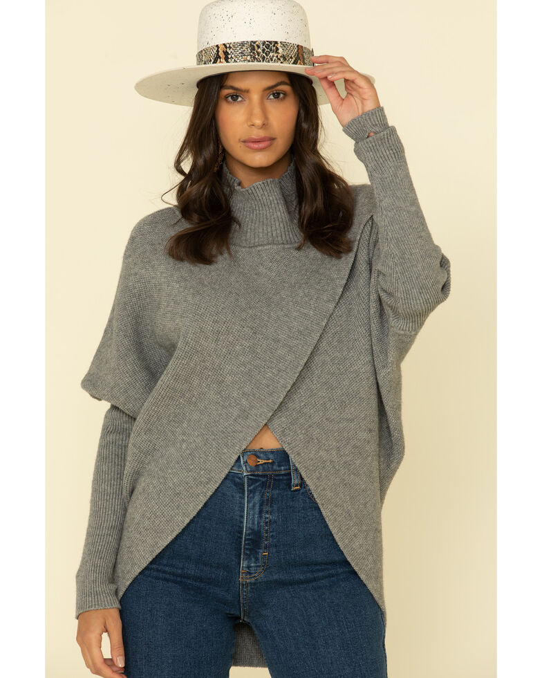 Elan Women's Crossfront Ribbed Turtle Neck Sweater , Grey, hi-res