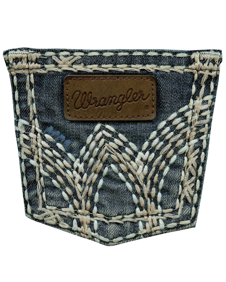 Wrangler Girls' Premium Patch Thick Stitch Bootcut Jeans - 4-14, Denim, hi-res