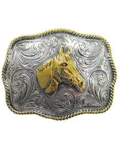 AndWest Two-Tone Horse Buckle, Gold, hi-res