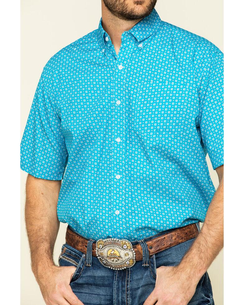 Roper Men's Amarillo Desert Sky Small Geo Print Short Sleeve Western Shirt , Blue, hi-res