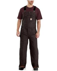 Carhartt Men's Dark Brown Quilt Lined Washed Bib Work Overalls , Brown, hi-res