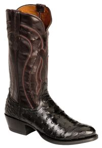 Lucchese Handmade 1883 Full Quill Ostrich Montana Cowboy Boots - Medium Toe, Black, hi-res