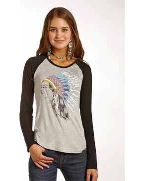 Rock & Roll Cowgirl Women's Grey Indian Headdress Baseball Tee , Grey, hi-res