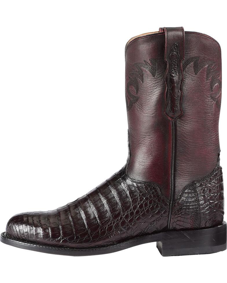 El Dorado Men's Handmade Caiman Belly Black Cherry Roper Boots - Round Toe, Black Cherry, hi-res