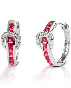 Kelly Herd Women's Red Contemporary Buckle Hoop Earrings, Silver, hi-res