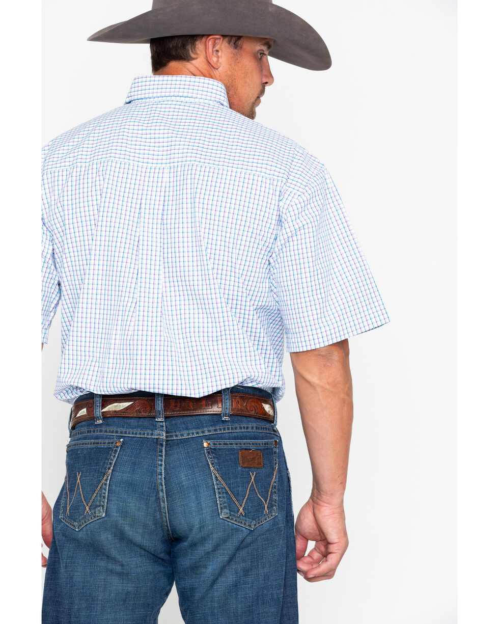 George Strait by Wrangler Men's Purple Plaid Short Sleeve Shirt, Purple, hi-res