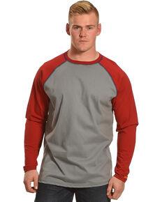 Wrangler Men's Red FR Knit Baseball Long Sleeve Work Shirt , Red, hi-res