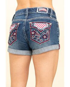 Shyanne Women's Medium American Roll Hem Shorts , Blue, hi-res