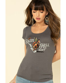 Idyllwind Women's Raise Hell Trustie Tee, Charcoal, hi-res